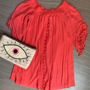 Off-The-Shoulder Coral Dress/Cover Up w/ Tassels